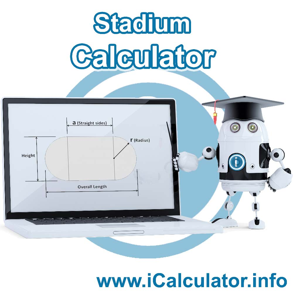 Stadium shape Calculator: This image shows a stadium shape with associated calculations used by the Stadium shape Calculator