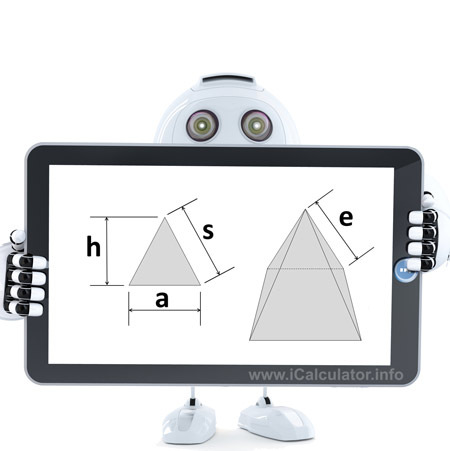 Square Pyramid shape Calculator: This image shows a Square Pyramid shape with associated calculations used by the Square Pyramid Shape Calculator