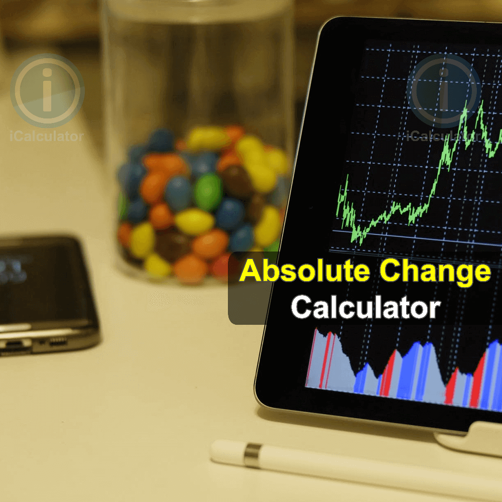 . This image shows the formula used for the calculation of absolute change used by the Absolute Change Calculator