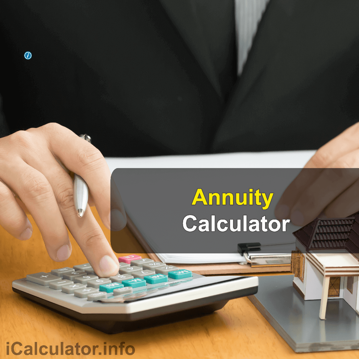 Annuity Calculator. This image provides details of how to calculate annuity using a good calculator and notepad. By using the annuity formula, the Annuity Calculator provides a true calculation of the return on investment of a lump sum with regular monthly contributions
