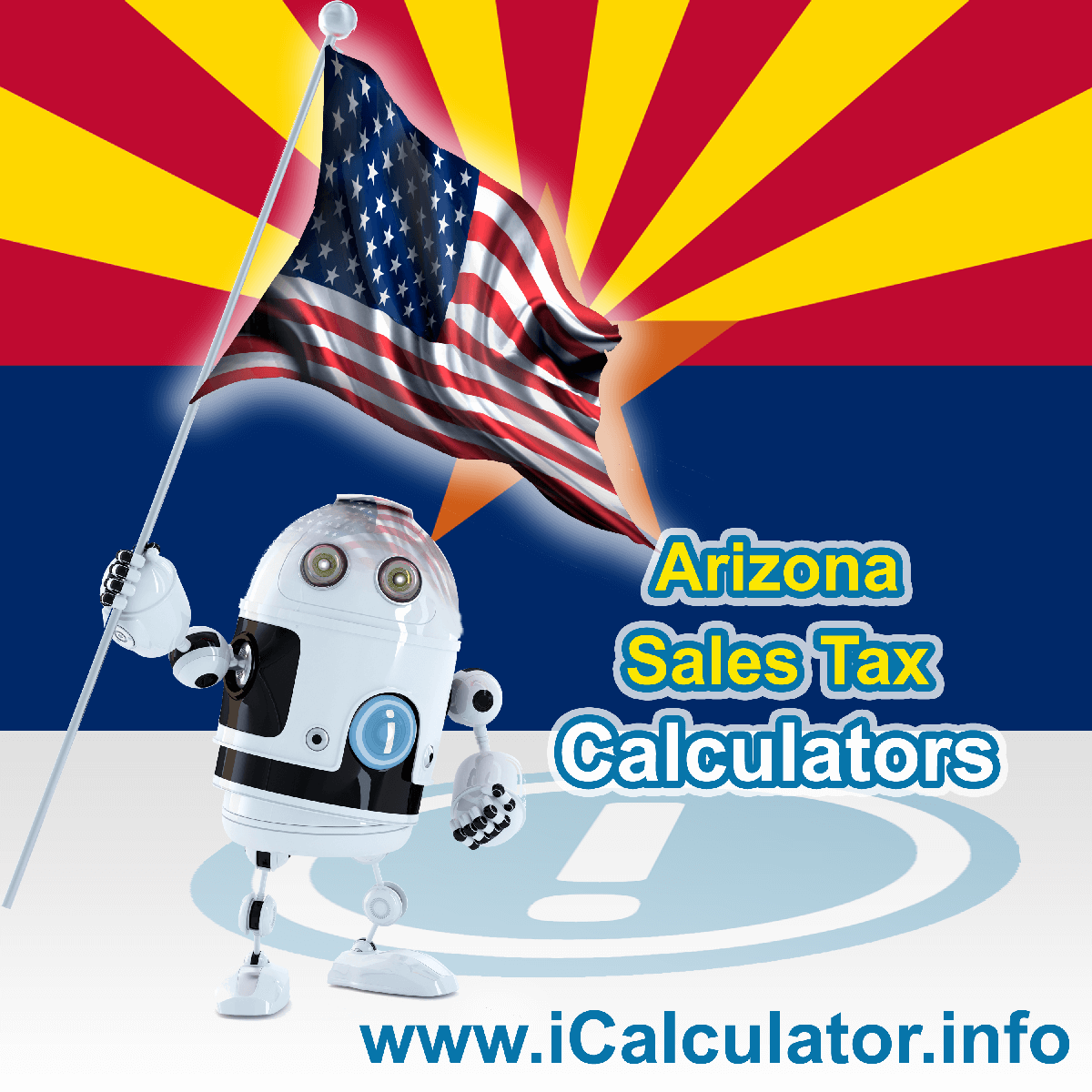 Arizona Sales Tax Comparison Calculator: This image illustrates a calculator robot comparing sales tax in Arizona manually using the Arizona Sales Tax Formula. You can use this information to compare Sales Tax manually or use the Arizona Sales Tax Comparison Calculator to calculate and compare Arizona sales tax online.