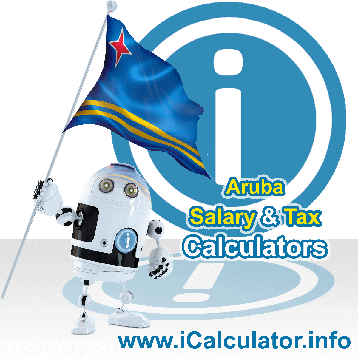 Aruba Tax Calculator. This image shows the Aruba flag and information relating to the tax formula for the Aruba Salary Calculator