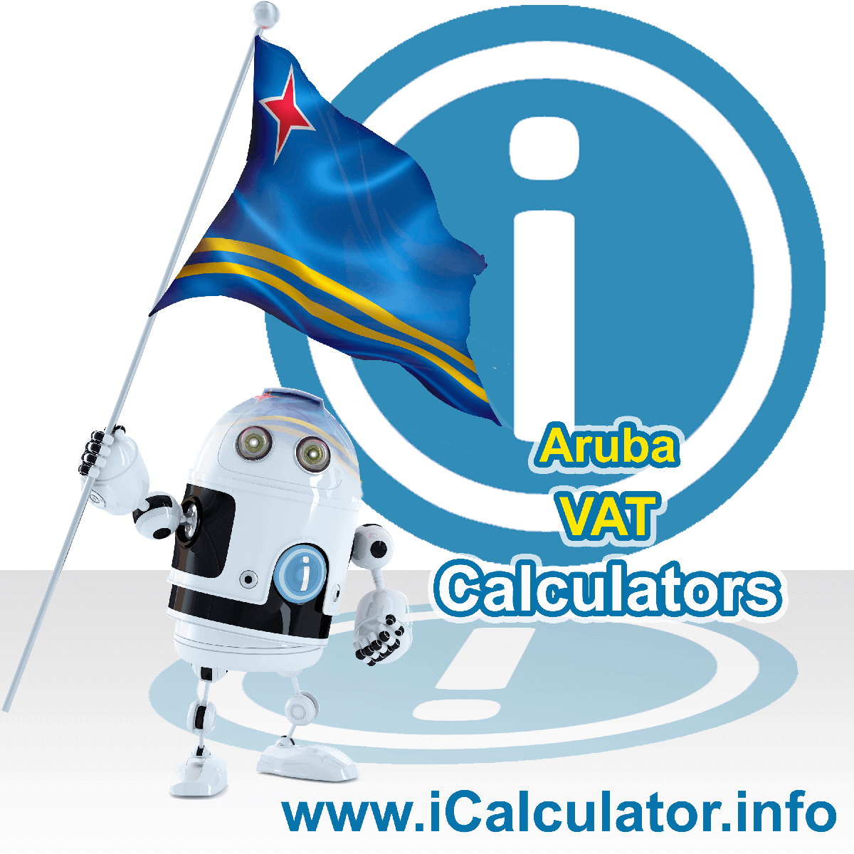 Aruba VAT Calculator. This image shows the Aruba flag and information relating to the VAT formula used for calculating Value Added Tax in Aruba using the Aruba VAT Calculator in 2020