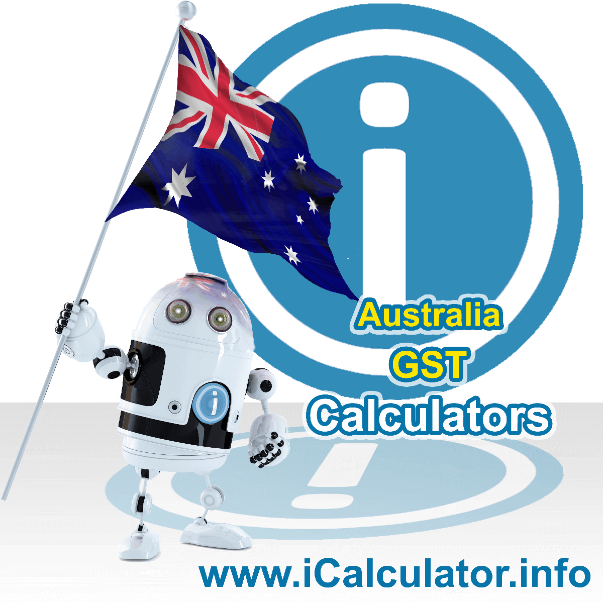 Australia GST Calculator. This image shows the Australia flag and information relating to the GST formula used for calculating goods and service Tax in Australia using the Australia GST Calculator in 2020