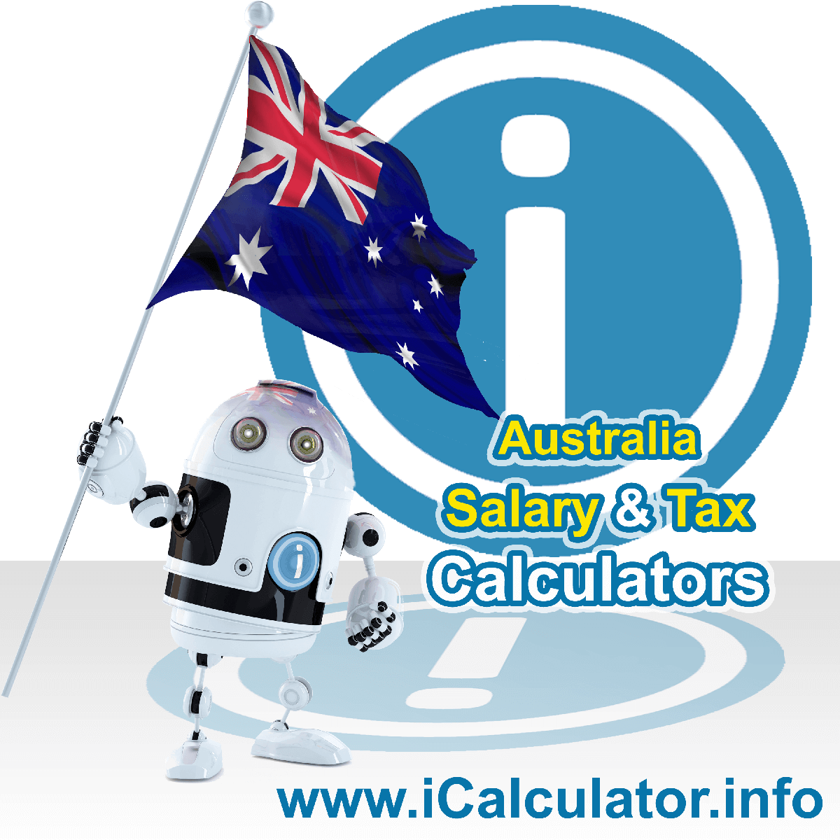 Australia Tax Calculator. This image shows the Australia flag and information relating to the tax formula for the Australia Tax Calculator