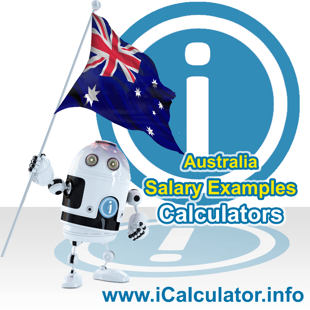 Australia Salary Example for $50k. This image shows the Australian flag and information relating to the tax formula used for calculating income tax in Australia using the Australia Tax Calculator in 2020