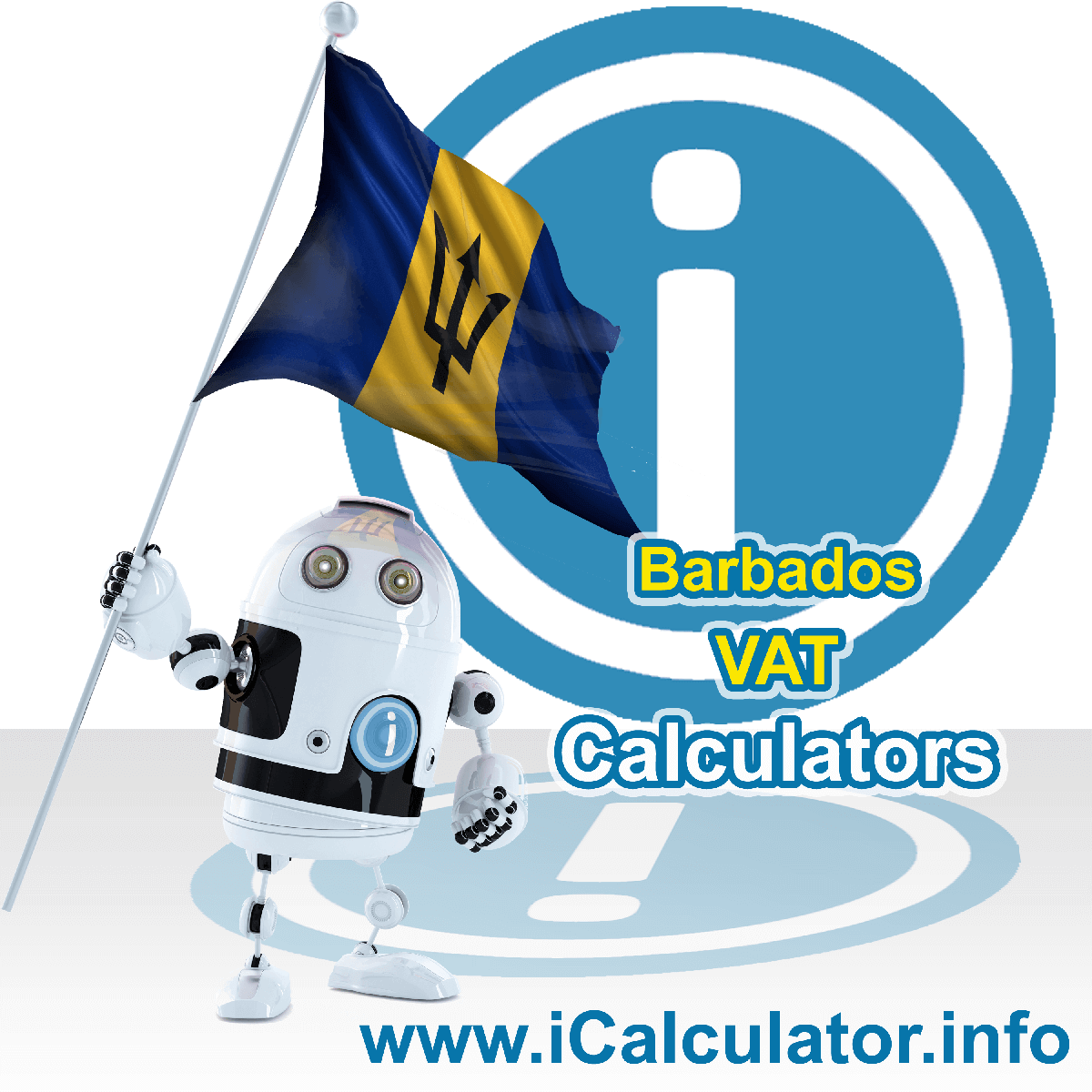 Barbados VAT Calculator. This image shows the Barbados flag and information relating to the VAT formula used for calculating Value Added Tax in Barbados using the Barbados VAT Calculator in 2020