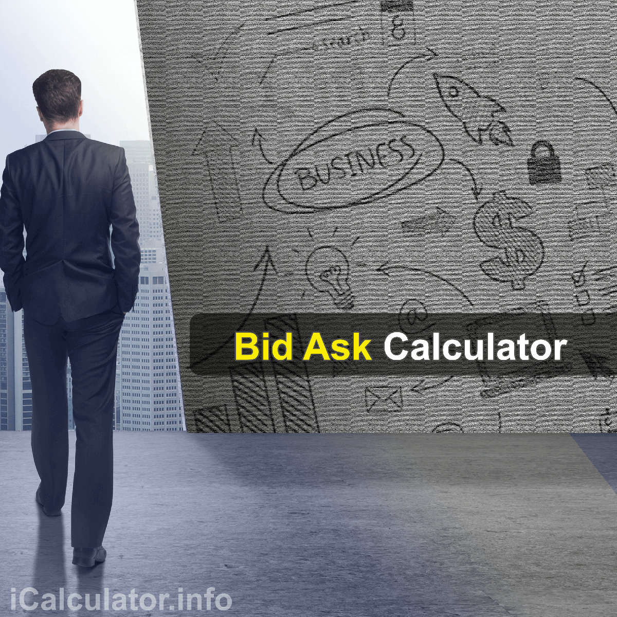 Bid-Ask Calculator. This image provides details of how to calculate Bid-Ask using a calculator and notepad. By using the Bid-Ask formula, the Bid-Ask Calculator provides a true calculation of the price of sale and purchase of stocks that affects the entire stock profitability of a portfolio