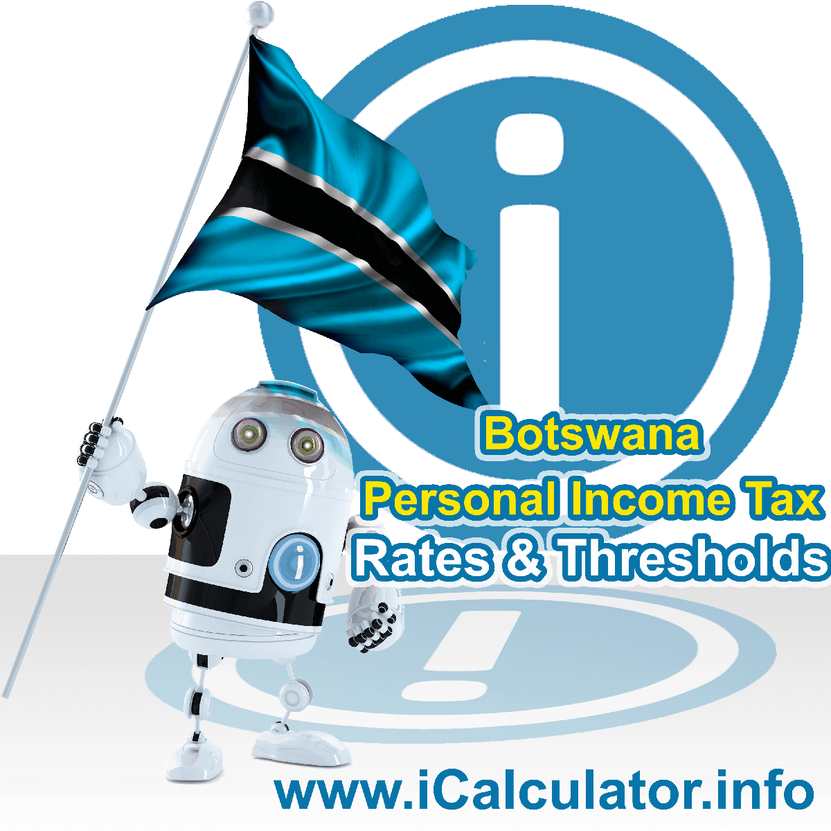 Botswana Salary Calculator. This image shows the Botswanaese flag and information relating to the tax formula for the Botswana Tax Calculator