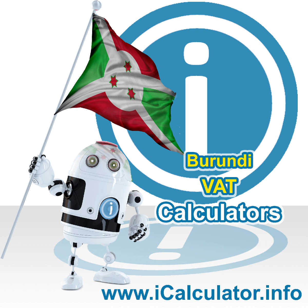 Burundi VAT Calculator. This image shows the Burundi flag and information relating to the VAT formula used for calculating Value Added Tax in Burundi using the Burundi VAT Calculator in 2021
