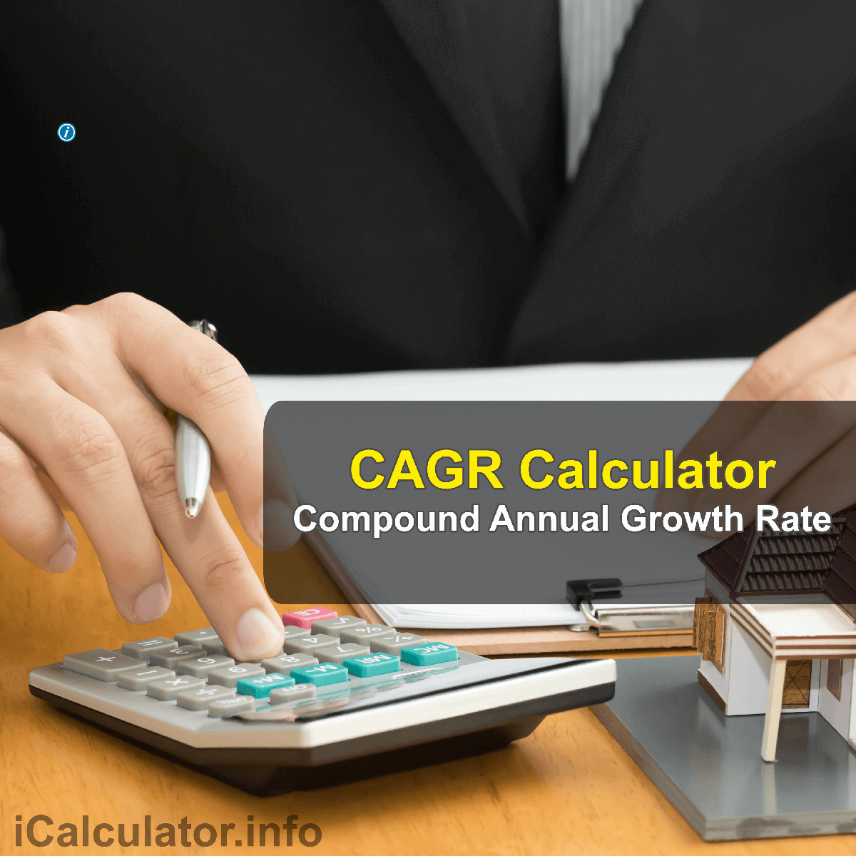 CAGR Calculator. This image provides details of how to calculate the compound annual growth rate using a good calculator, a pencil and paper. By using the Compound Annual Growth Rate formula, the CAGR Calculator provides a true calculation of the annual growth rate on an investment whose value has fluctuated during the period of investment.
