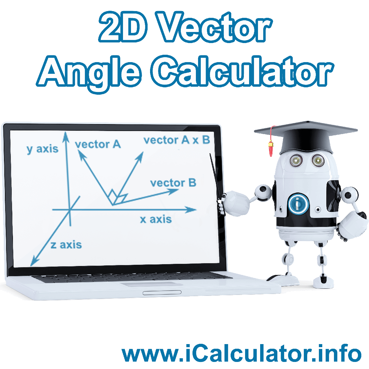 2D Vector Angle Calculator. This image shows 2D Vector Angle with associated calculations used by the 2D Vector Angle Calculator