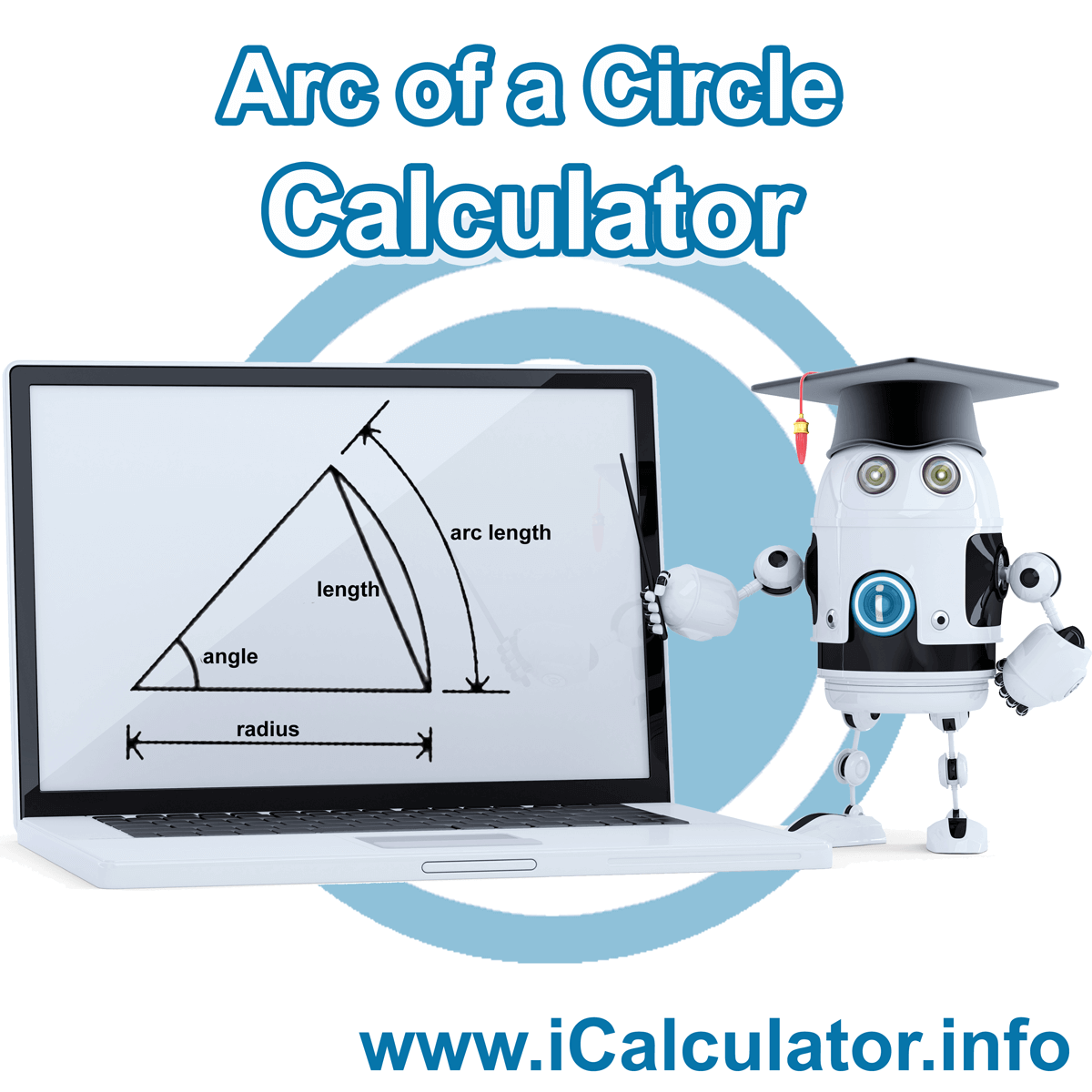 Arc of a circle calculator. This image shows an arc of a circle with associated calculations used by the Arc of a circle calculator