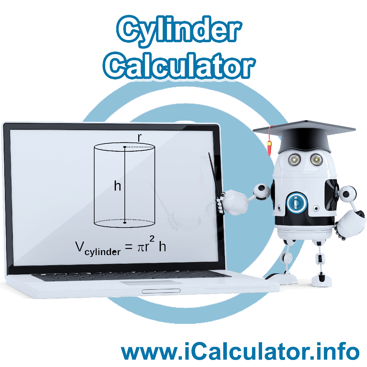 Cylinder Calculator. This image shows the properties and formula for the Cylinder Calculator