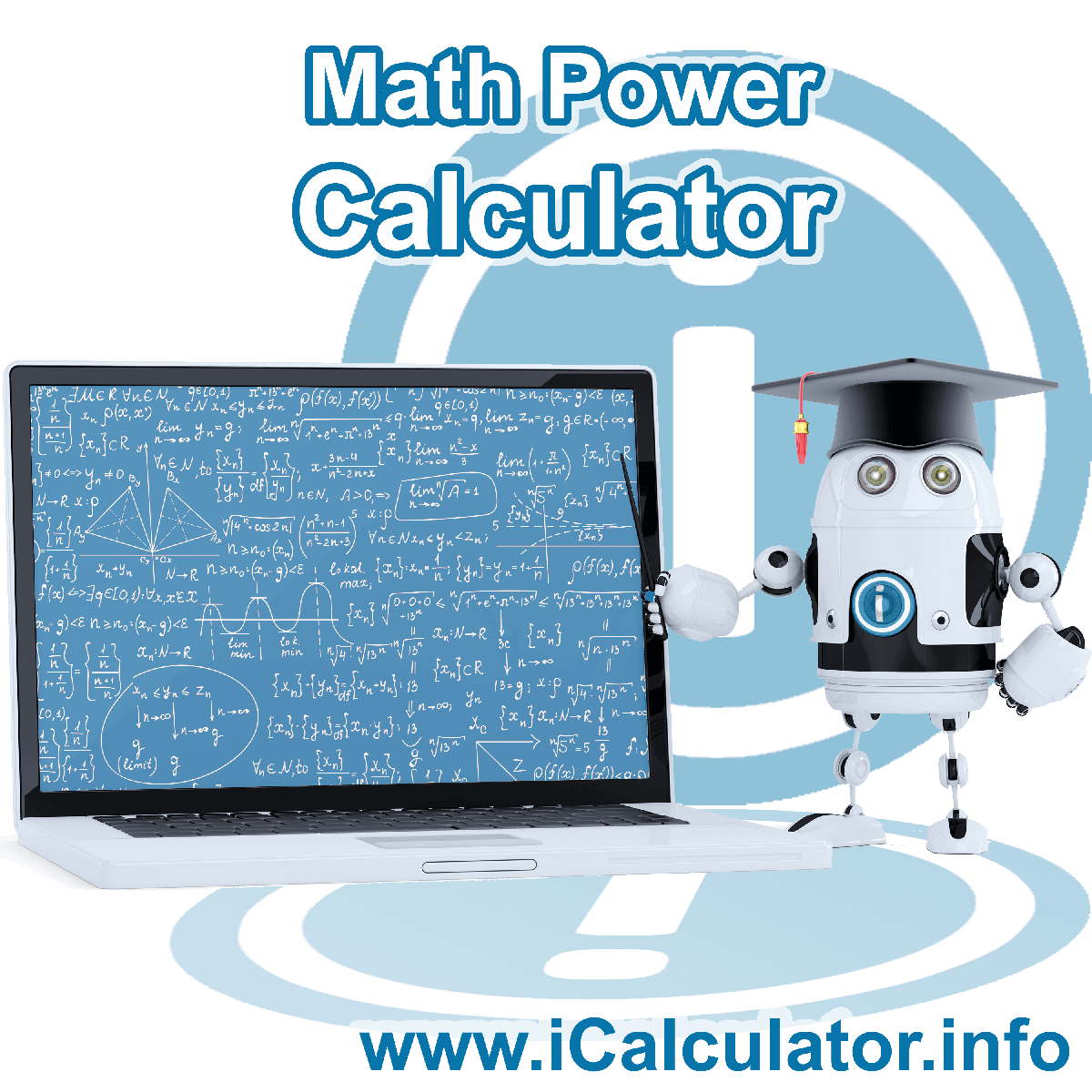 Mathematics Power Calculator. This image shows Math Power formula with associated calculations used by the Math Power Calculator