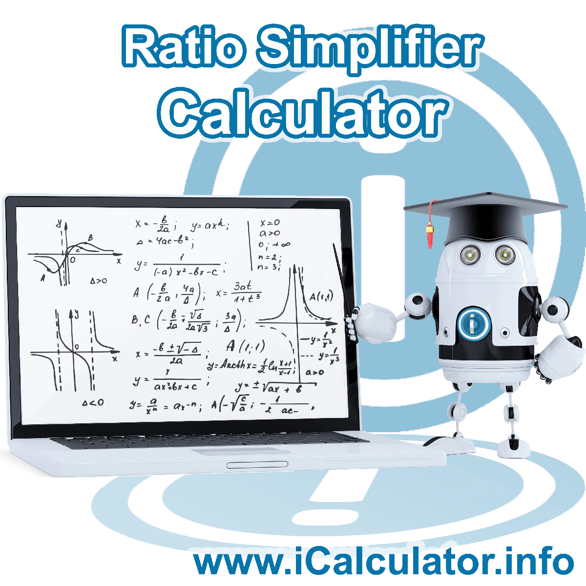 Ratio Simplifier Calculator. This image shows a formula for simplyfying ratios with associated calculations used by the Ratio Simplifier Calculator