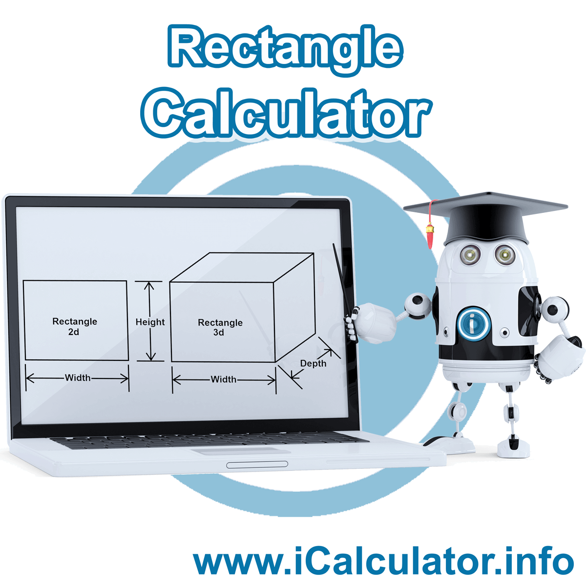 Rectangle Calculator. This image shows a 2D rectangle and a 3D rectangle with associated calculations used by the Rectangle Calculator