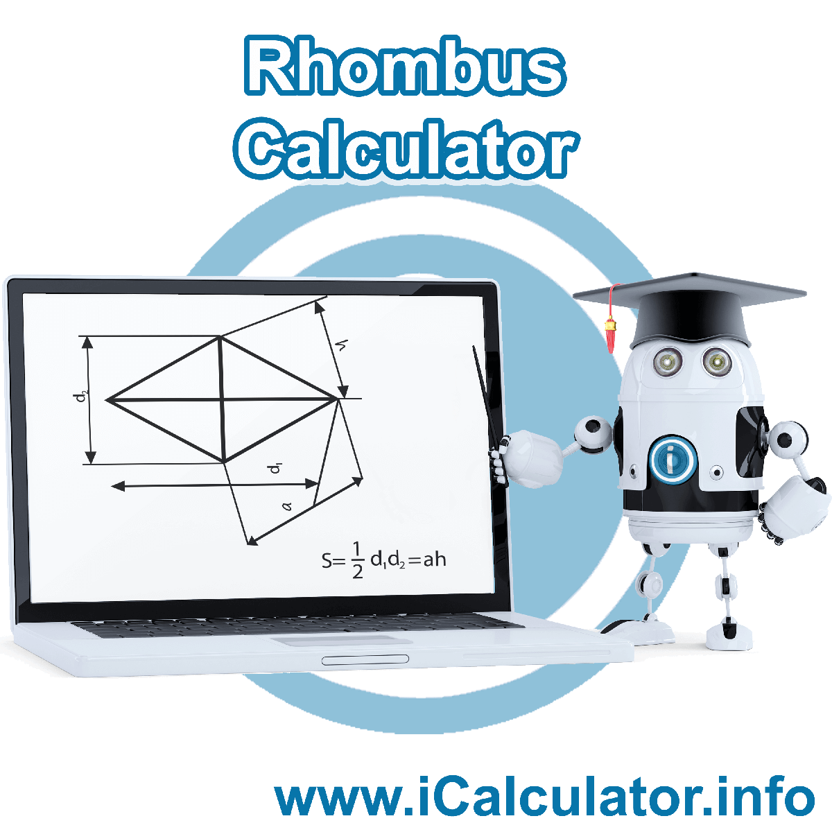 Rhombus Calculator. This image shows the properties and formula for the Rhombus Calculator
