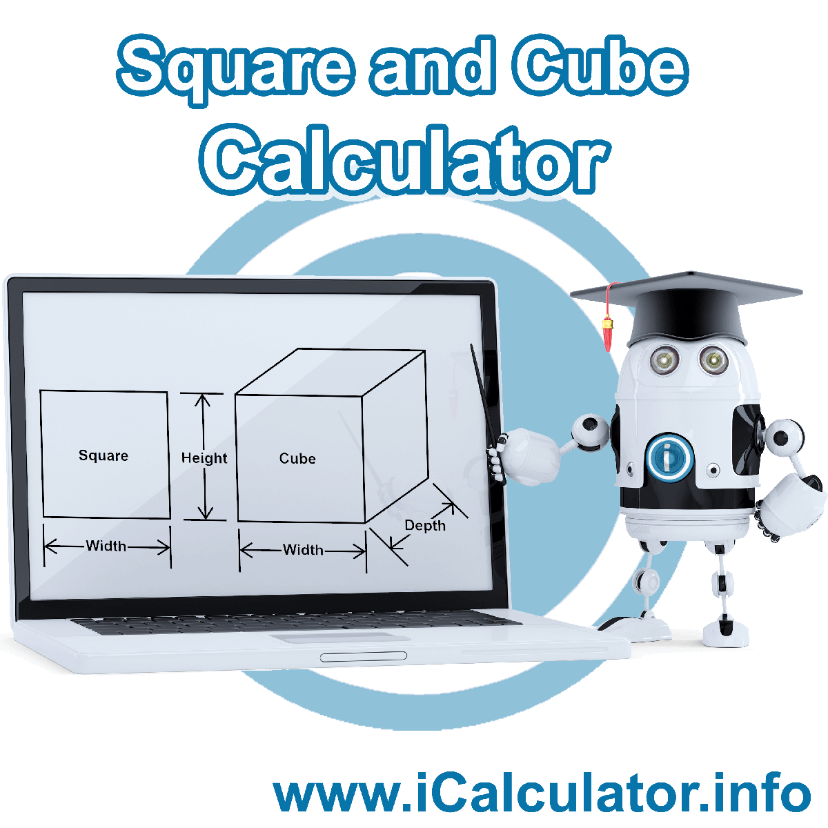 Square and Cube Calculator. This image shows the properties and formula for the Square and Cube Calculator
