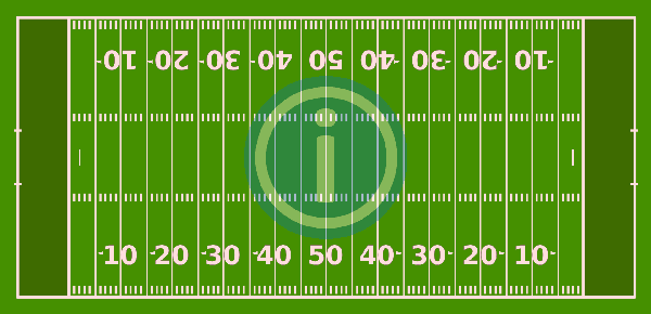 American Football Gridiron image showing the filed on which American football is played in the NFL, CFL and NCAA