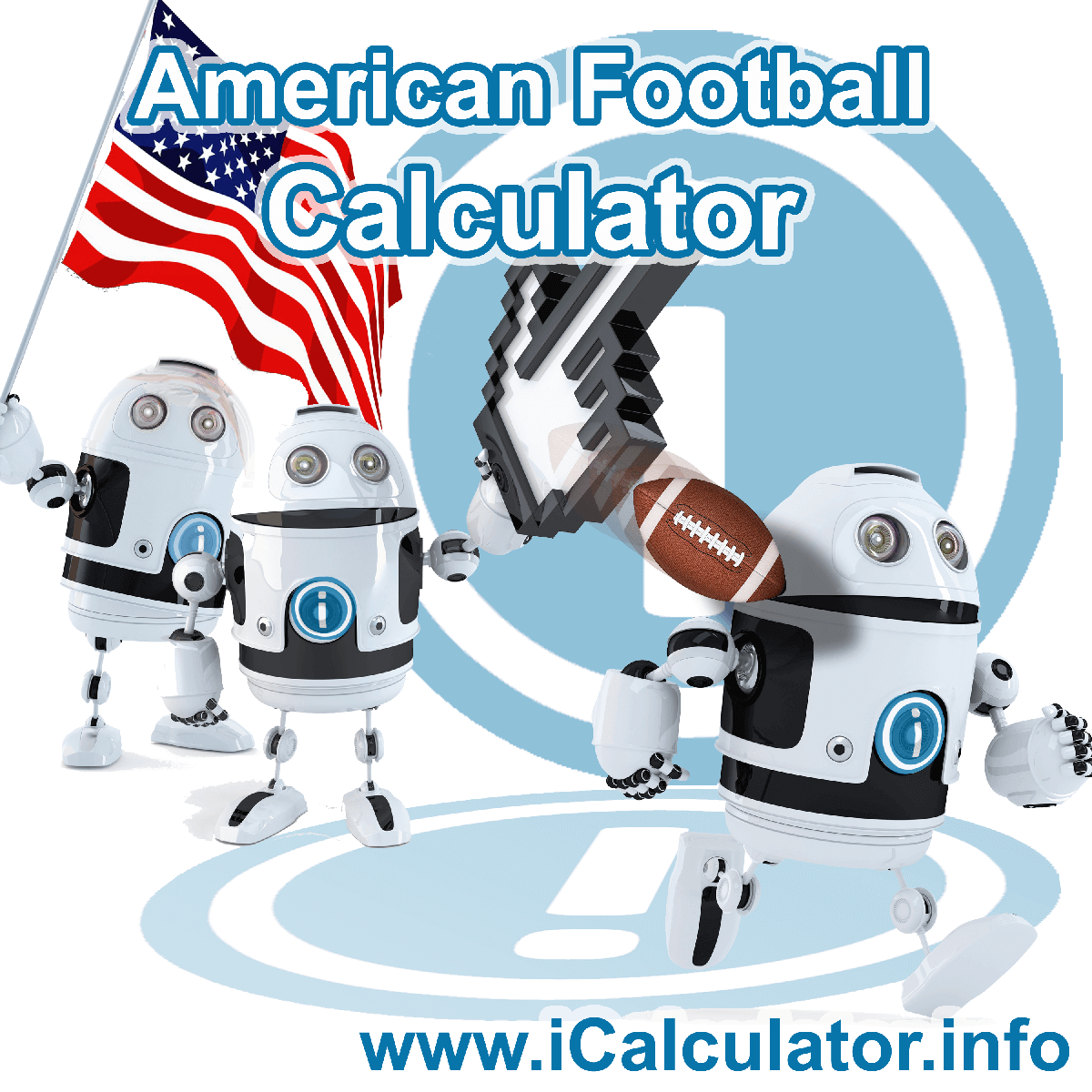 American Football Calculator. This image shows an American Football player playing american football - by iCalculator