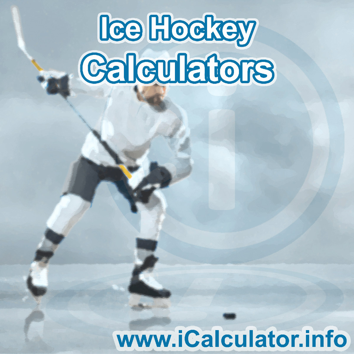 Ice Hockey Calculator. This image shows an Ice Hockey player playing ice hockey - by iCalculator