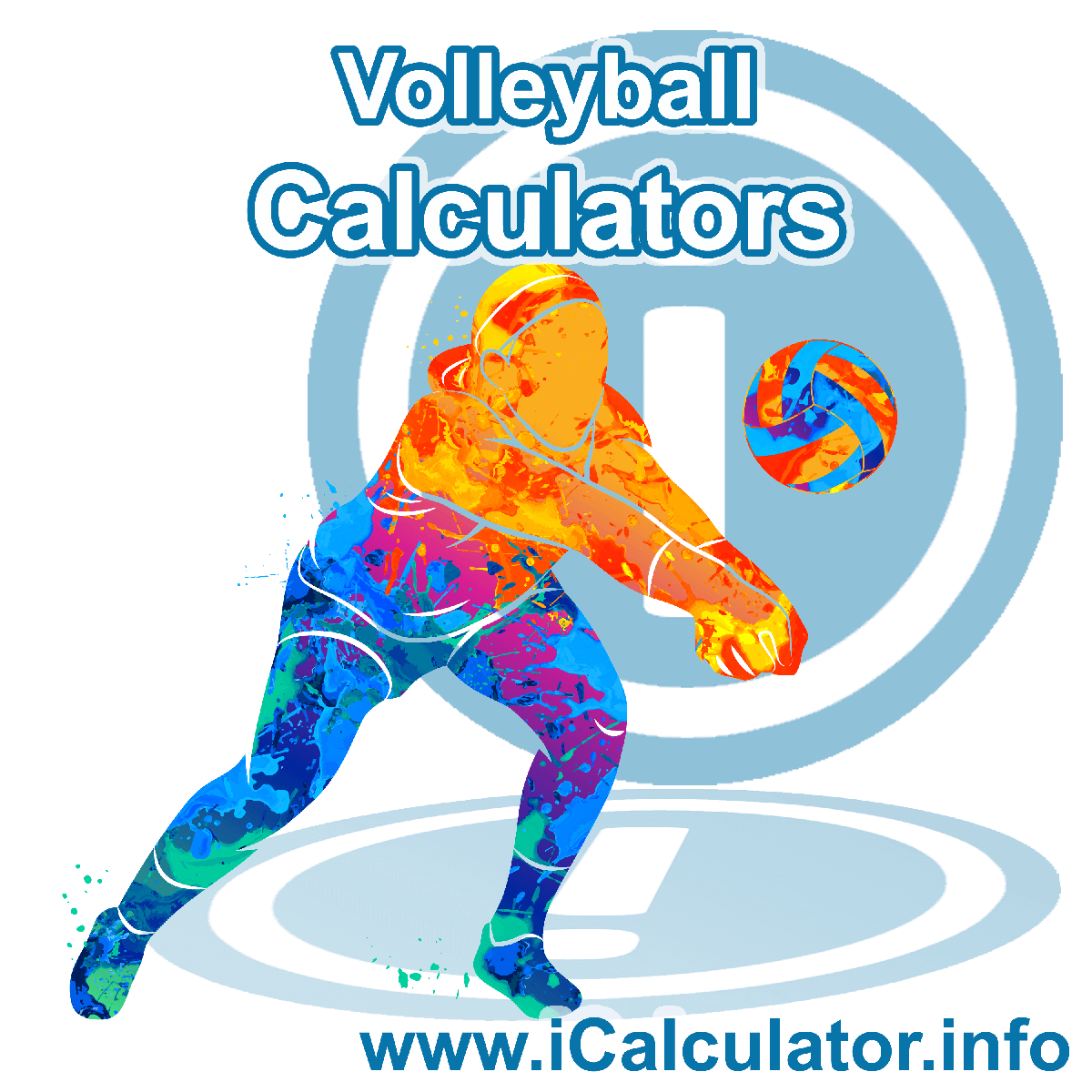 Volleyball Calculator. This image shows an Volleyball player playing volleyball - by iCalculator