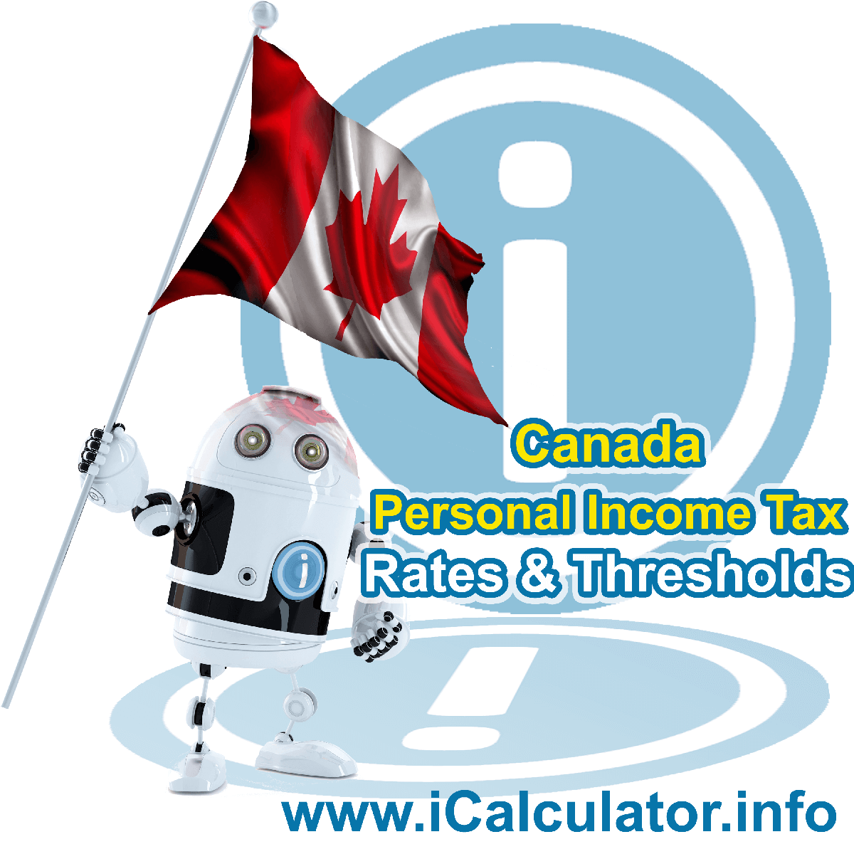 Canada Tax Tables for 2020. This image shows the Canadian flag and information relating to the tax tables, tax allowances and tax credits in Canada as used in the Canada Tax Calculator
