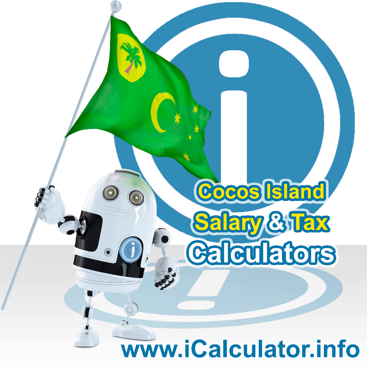Cocos Islands Wage Calculator. This image shows the Cocos Islands flag and information relating to the tax formula for the Cocos Islands Tax Calculator