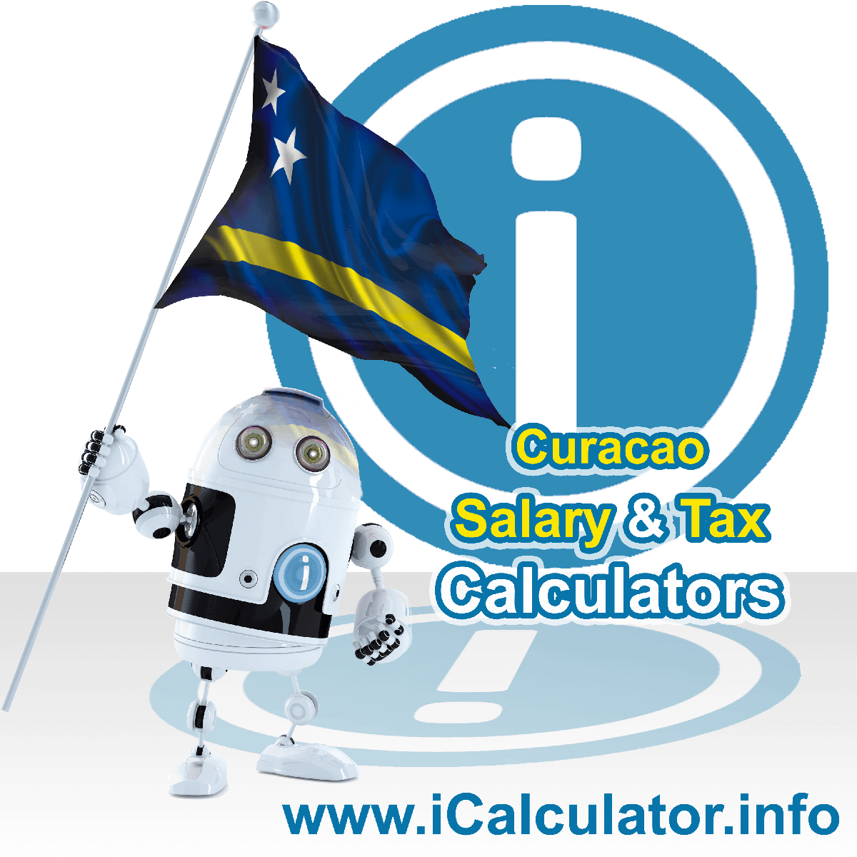 Curacao Salary Calculator. This image shows the Curacaoese flag and information relating to the tax formula for the Curacao Tax Calculator