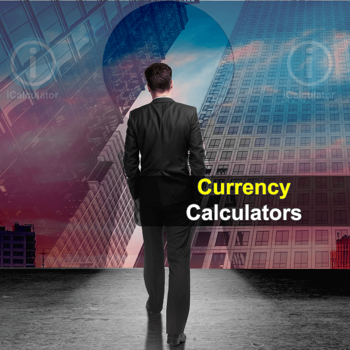 Currency Calculators. This image shows a trader considering the merits of currency trading and the expected margin of return, supporting his decision making by using the currency calculators provided by iCalculator.