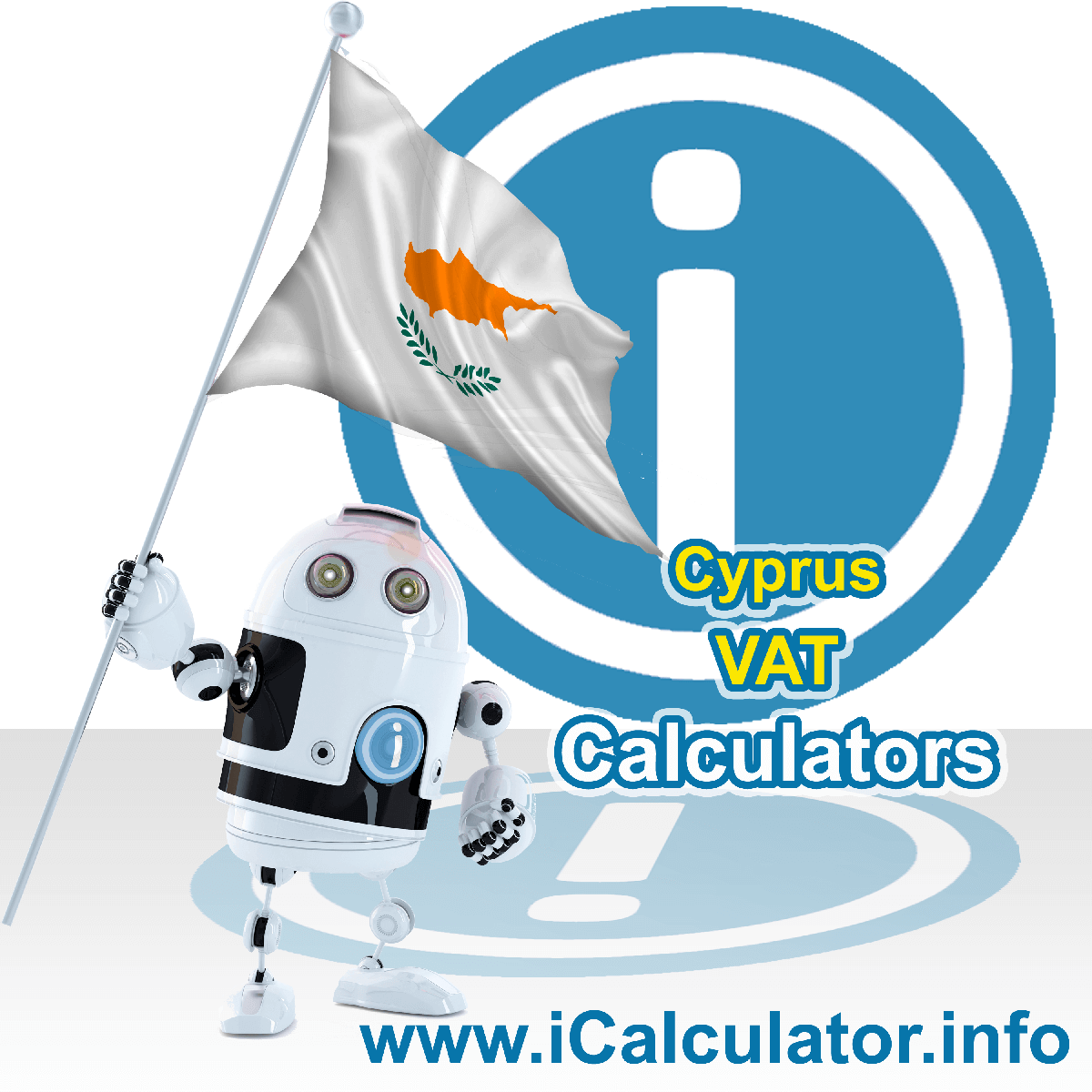 Cyprus VAT Calculator. This image shows the Cyprus flag and information relating to the VAT formula used for calculating Value Added Tax in Cyprus using the Cyprus VAT Calculator in 2020