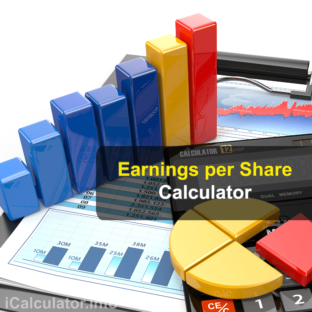 Earnings Per Share Calculator. This image shows a man learning how to calculate earnings per share using a calculator and notepad. By using the earnings per share formula, the EPS Calculator provides a true calculation of company's profit allocation to each share of common stock.