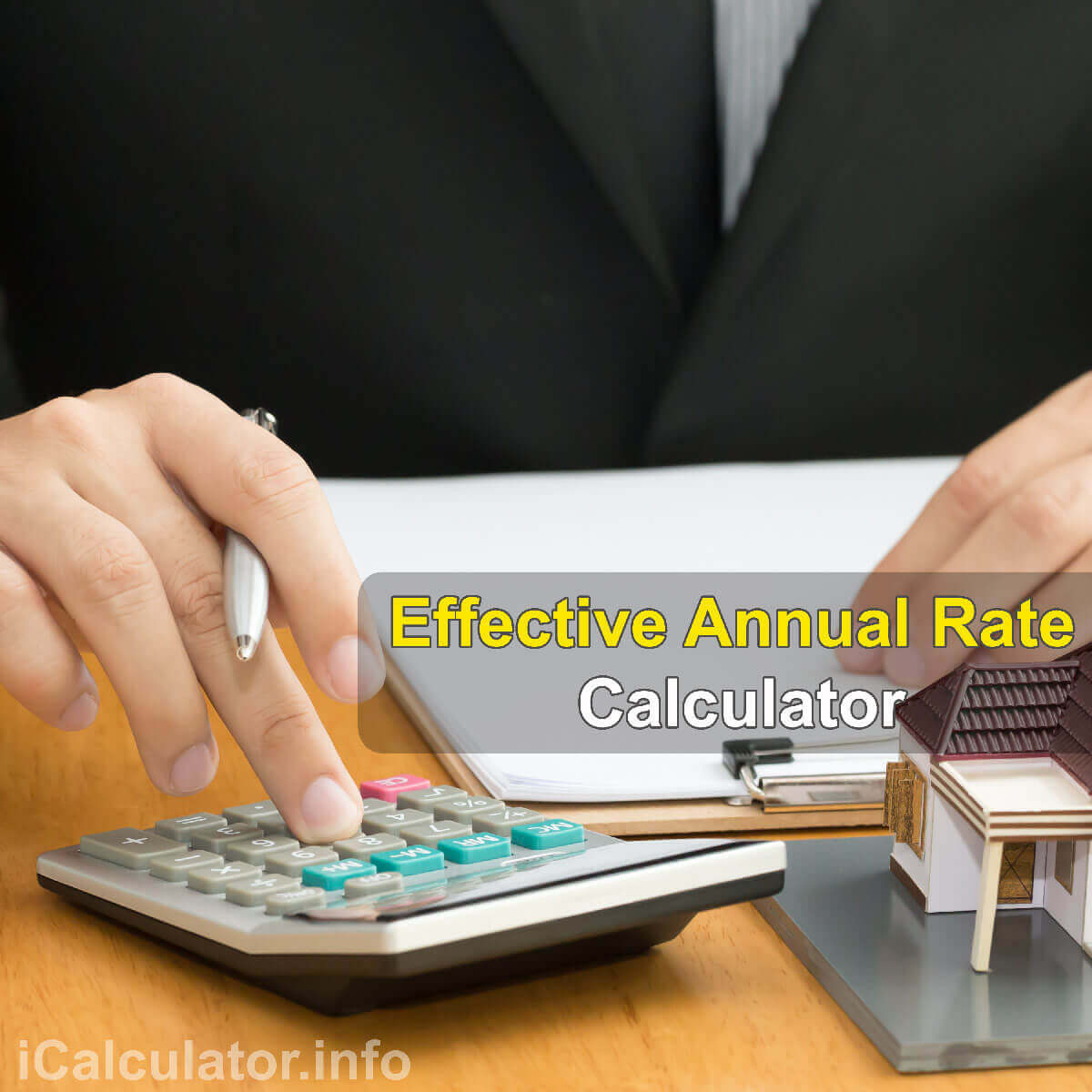 Effective Annual Rate Calculator. This image shows a man learning how to calculate the effective annual rate using a calculator and notepad. By useing the effective annual rate formula, the Effective Annual Rate Calculator provides a true calculation of the interest rate on an investment and/or personal and home loans.