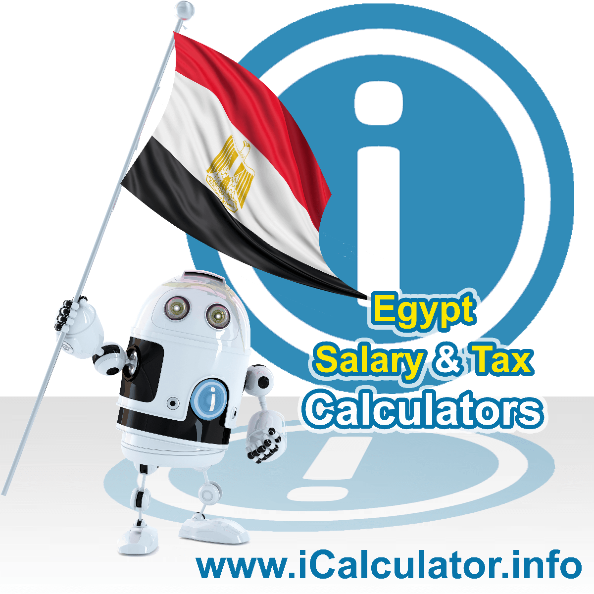 Egypt Salary Calculator. This image shows the Egyptese flag and information relating to the tax formula for the Egypt Tax Calculator