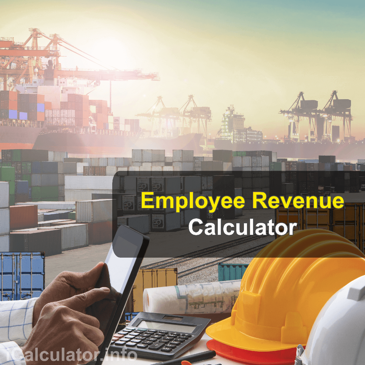 Revenue Per Employee Calculator. This image provides details of how to calculate the revenue per employee using a good calculator, a pen and notepad. By using the revenue per employee formula, the Revenue Per Employee Calculator provides a true calculation of how much each employee contributes to the profit and tunrover of a business as an even split per person contribution.