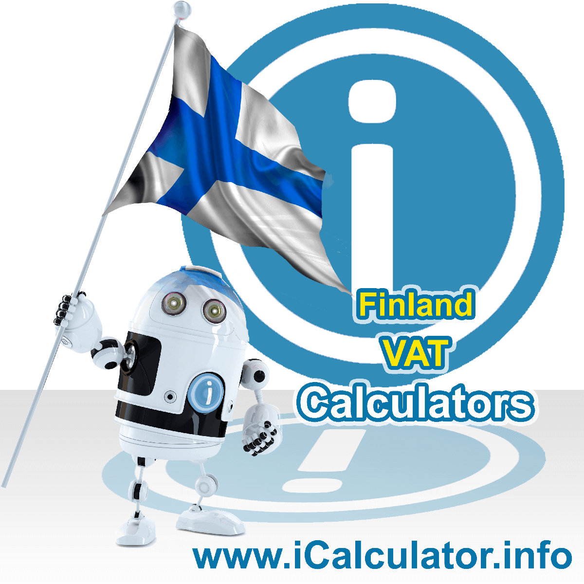 Finland VAT Calculator. This image shows the Finland flag and information relating to the VAT formula used for calculating Value Added Tax in Finland using the Finland VAT Calculator in 2020