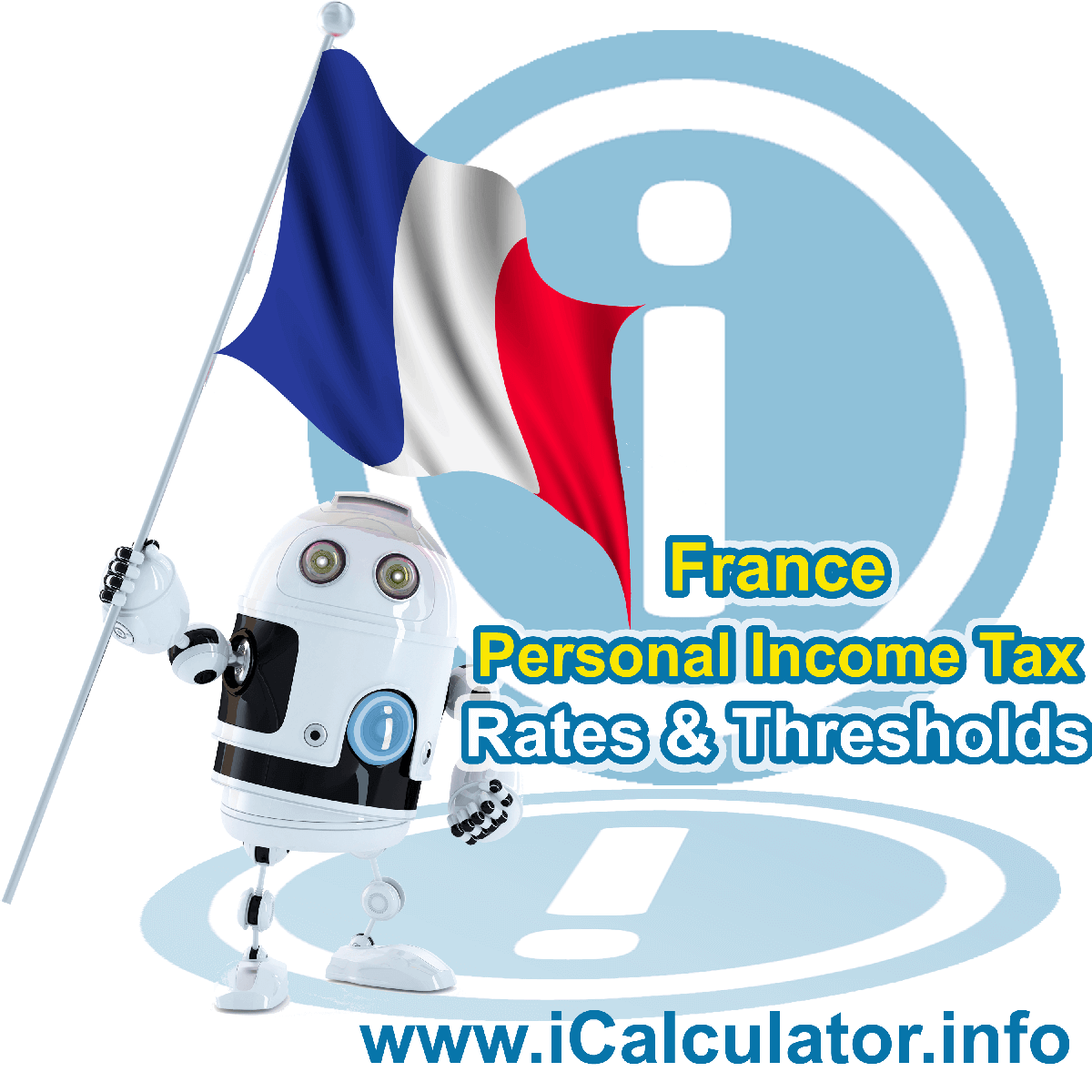 France Salary Calculator. This image shows the Franceese flag and information relating to the tax formula for the France Tax Calculator