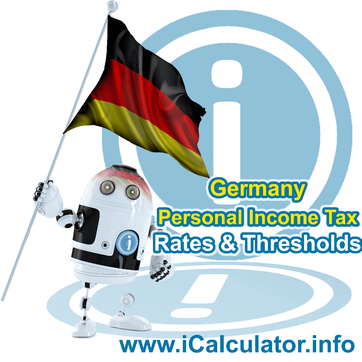 Germany Salary Calculator. This image shows the Germany flag and information relating to the tax formula for the Germany Tax Calculator