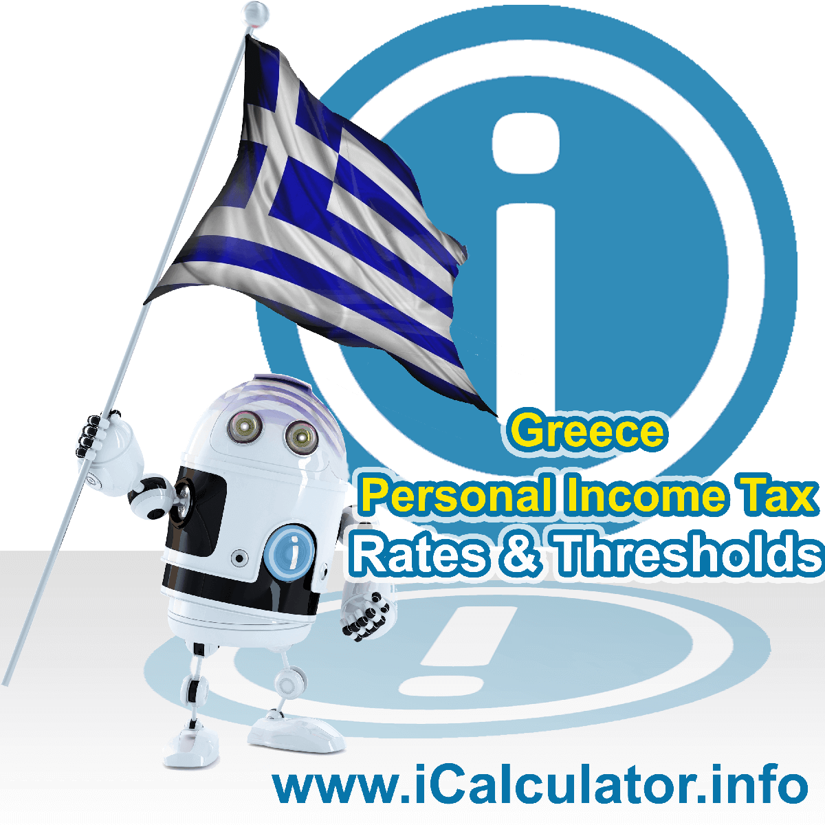 Greece Salary Calculator. This image shows the Greeceese flag and information relating to the tax formula for the Greece Tax Calculator