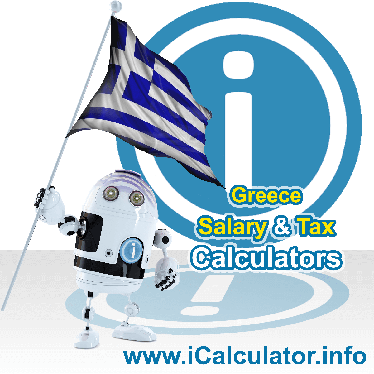 Greece Wage Calculator. This image shows the Greece flag and information relating to the tax formula for the Greece Tax Calculator