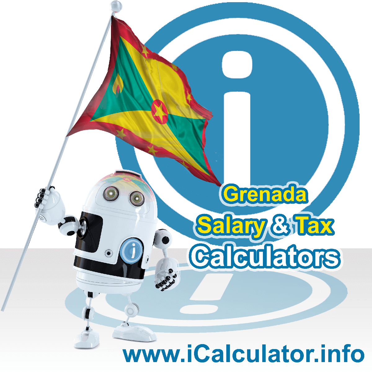 Grenada Salary Calculator. This image shows the Grenadaese flag and information relating to the tax formula for the Grenada Tax Calculator