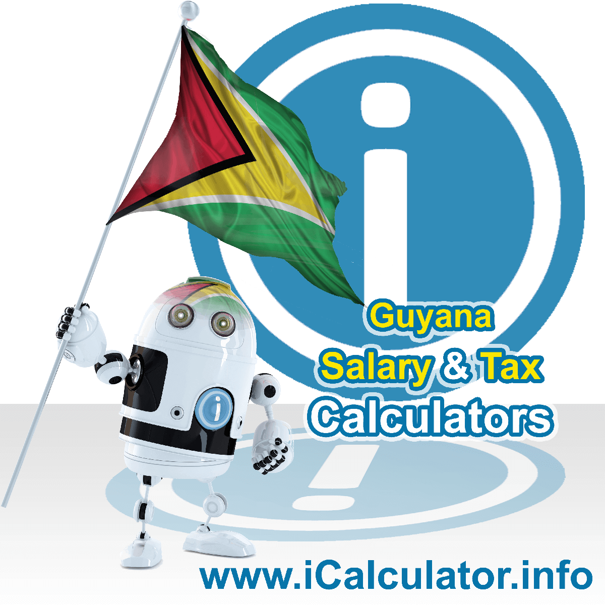Guyana Wage Calculator. This image shows the Guyana flag and information relating to the tax formula for the Guyana Tax Calculator