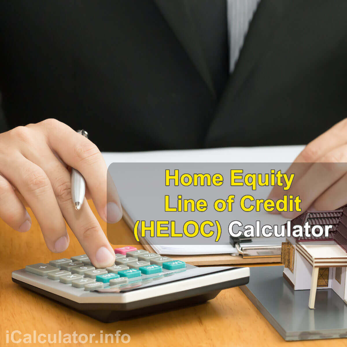 HELOC calculator | Home Equity Line of Credit Calculator. This image provides details of how to Home Equity Line of Credit using a calculator and notepad. By using the rule of home equity line of credit formula, annual interest rate formula and repayments formula, the HELOC Calculator provides a true calculation of the interest rate on a Home Equity Loan.
