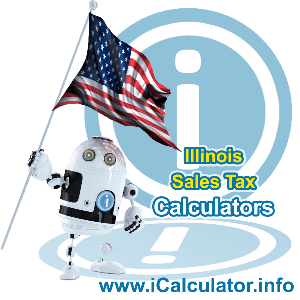 Will County Sales Rates: This image illustrates a calculator robot calculating Will County sales tax manually using the Will County Sales Tax Formula. You can use this information to calculate Will County Sales Tax manually or use the Will County Sales Tax Calculator to calculate sales tax online.