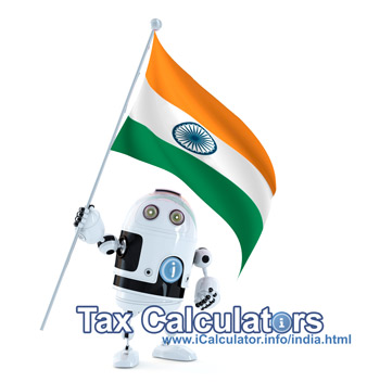 India Income Tax Example for ₹0.00 Salary. This image shows the flag of India and information relating to the tax formula for the India Income Tax Calculator used to create this payroll example for India