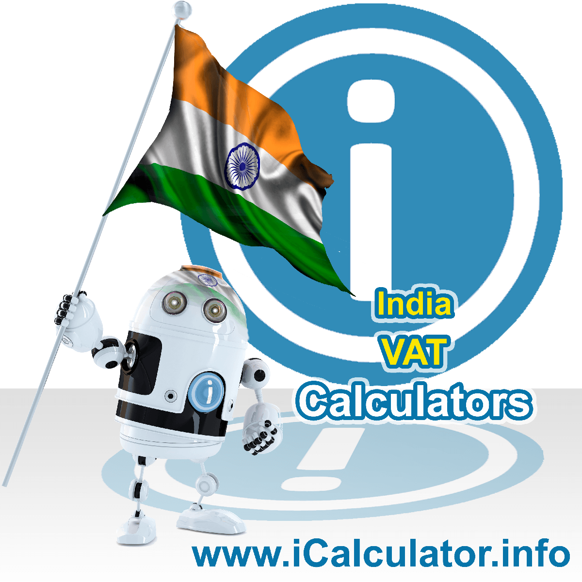 India VAT Calculator. This image shows the India flag and information relating to the VAT formula used for calculating Value Added Tax in India using the India VAT Calculator in 2021