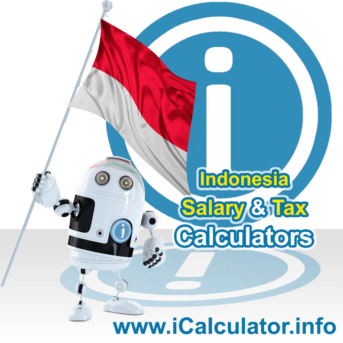 Indonesia Salary Calculator. This image shows the Indonesiaese flag and information relating to the tax formula for the Indonesia Tax Calculator