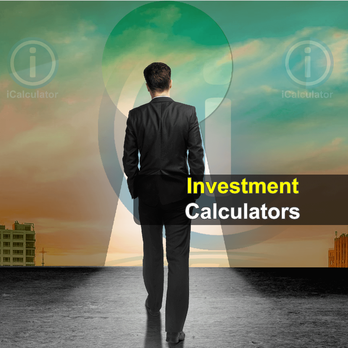 Investment Calculators. This image shows a corporate investor considering the merits of an investment portfolio and calculating investment risk using the investment calculators provided by iCalculator.