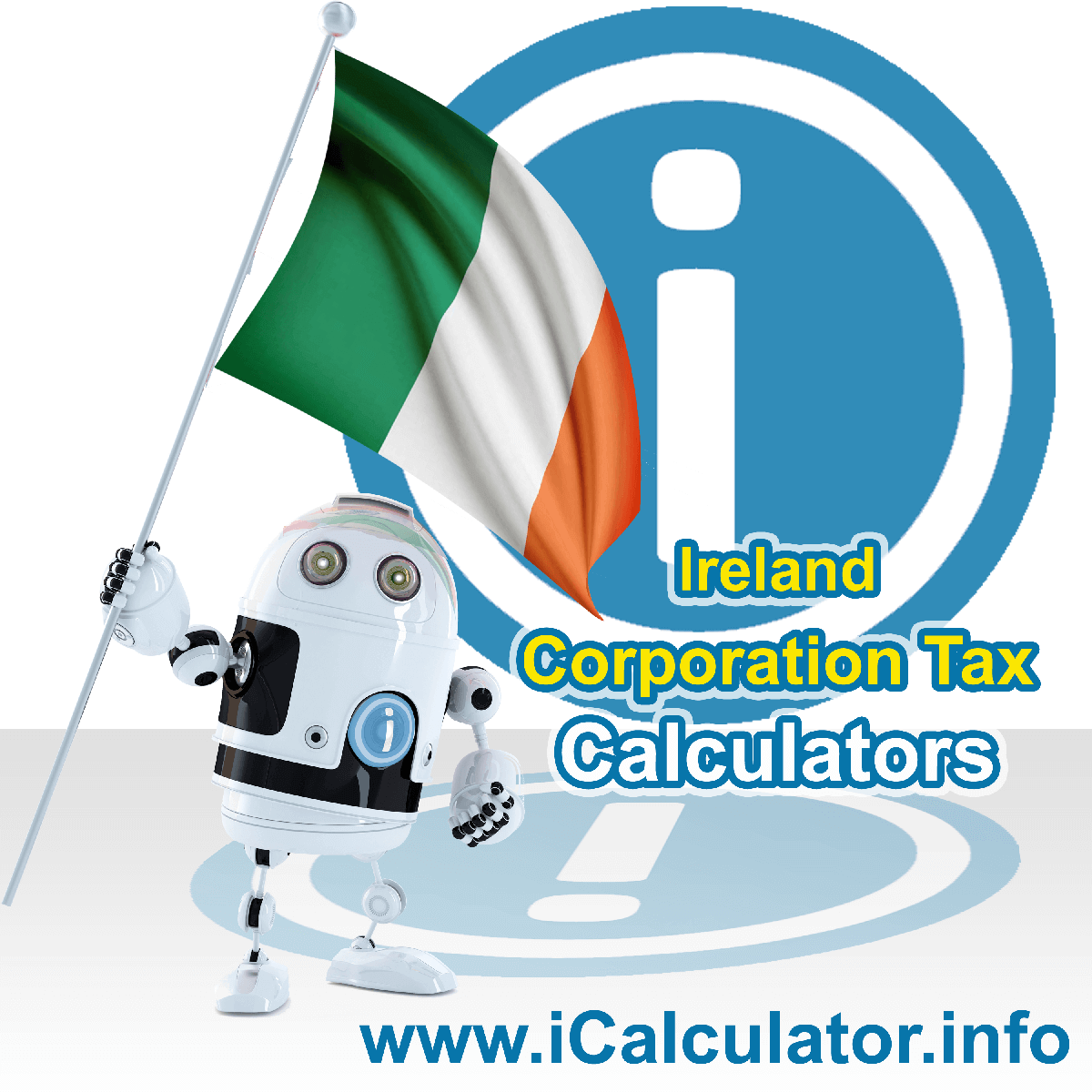 Ireland Corporation Tax Calculator. This image shows the Ireland flag and information relating to the corporation tax rate formula used for calculating Corporation Tax in Ireland using the Ireland Corporation Tax Calculator in 2021